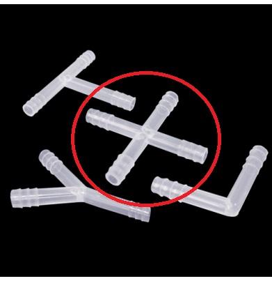 """Conector p/ Tubos diametro 10mm em polipropileno formato """"CRUZ"""""""