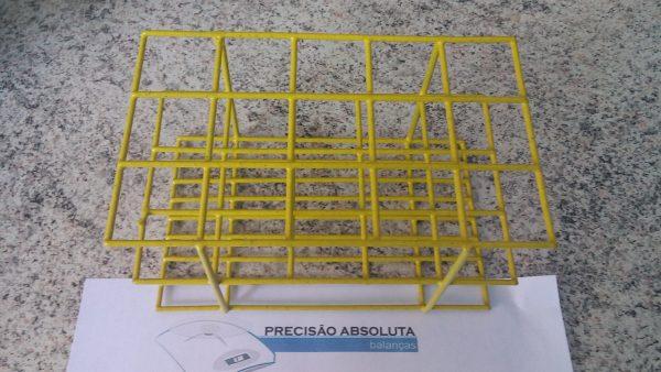 Estante em arame para 24 Tubos De Ensaio c/16 mm de diametro cobertura em PVC - Cor AMARELA