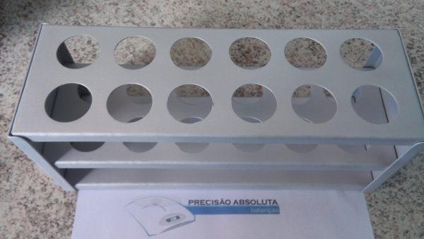 Estante em ALUMINIO SEM CABECEIRA para 24 Tubos De Ensaio c/25 mm de diametro