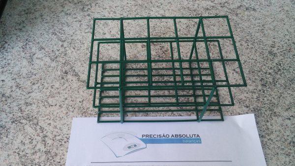Estante em arame para 40 Tubos De Ensaio c/16 mm de diametro cobertura em PVC - Cor VERDE