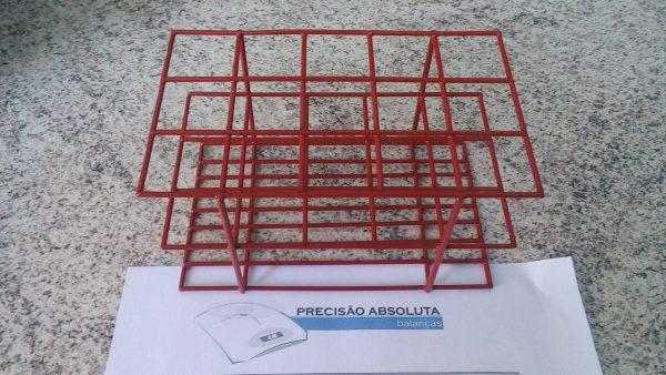 Estante em arame para 40 Tubos De Ensaio c/16 mm de diametro cobertura em PVC - Cor VERMELHA